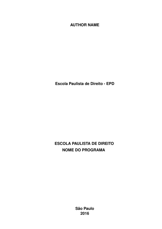 Modelo Tcc Escola Paulista De Direito Epd Fastformat