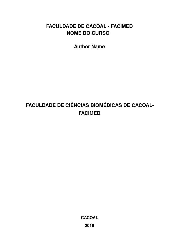 Modelo Tcc Faculdade De Ciências Biomédicas De Cacoal