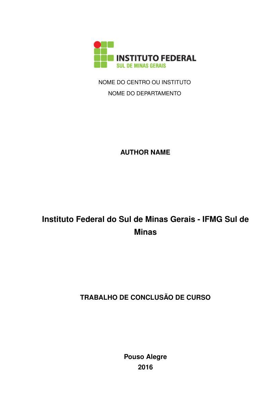 modelo tcc instituto federal do sul de minas gerais ifmg sul de