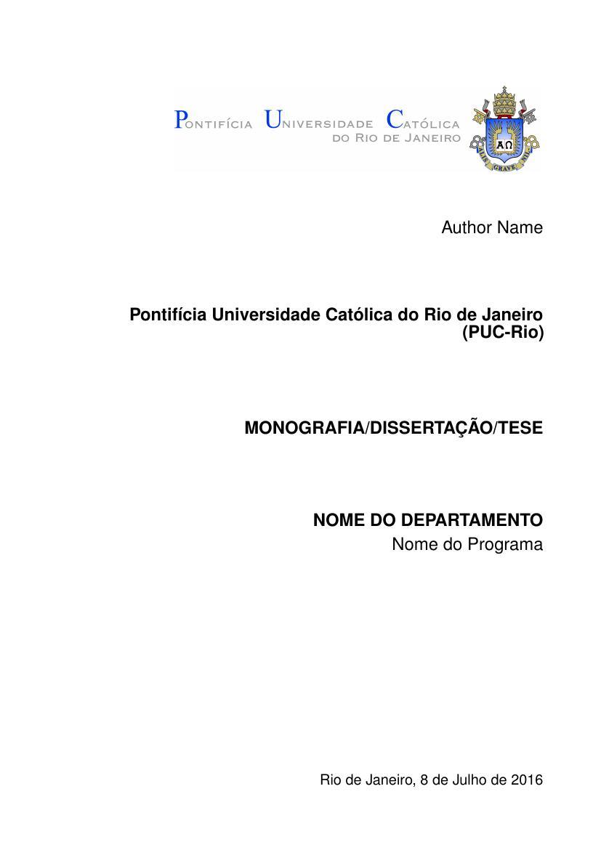 Modelo Tcc Pontifícia Universidade Católica Do Rio De