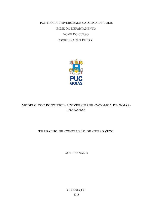 Modelo Tcc Pontifícia Universidade Católica De Goiás