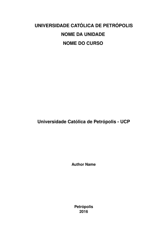 Modelo Tcc Universidade Católica De Petrópolis Ucp