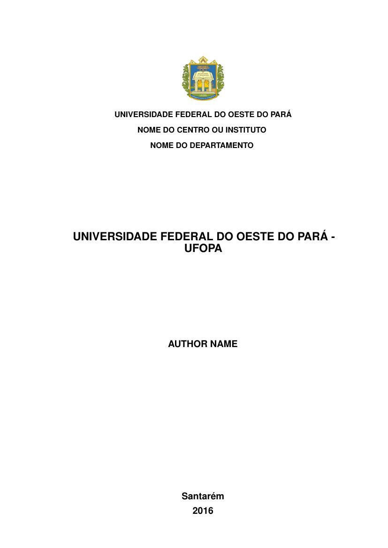 Modelo Tcc Universidade Federal Do Oeste Do Pará Ufopa