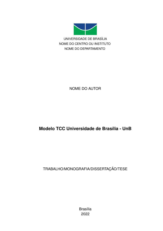Modelo Tcc Universidade De Brasília Unb Fastformat