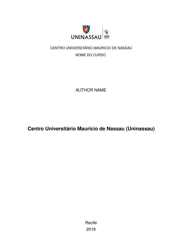 Modelo Tcc Centro Universitário Mauricio De Nassau