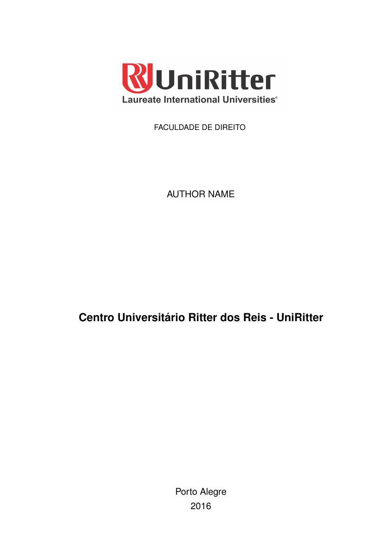 Modelo Tcc Centro Universitário Ritter Dos Reis Uniritter