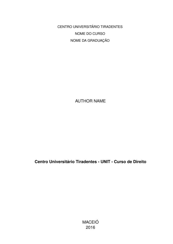 Modelo Tcc Centro Universitário Tiradentes Unit Curso De