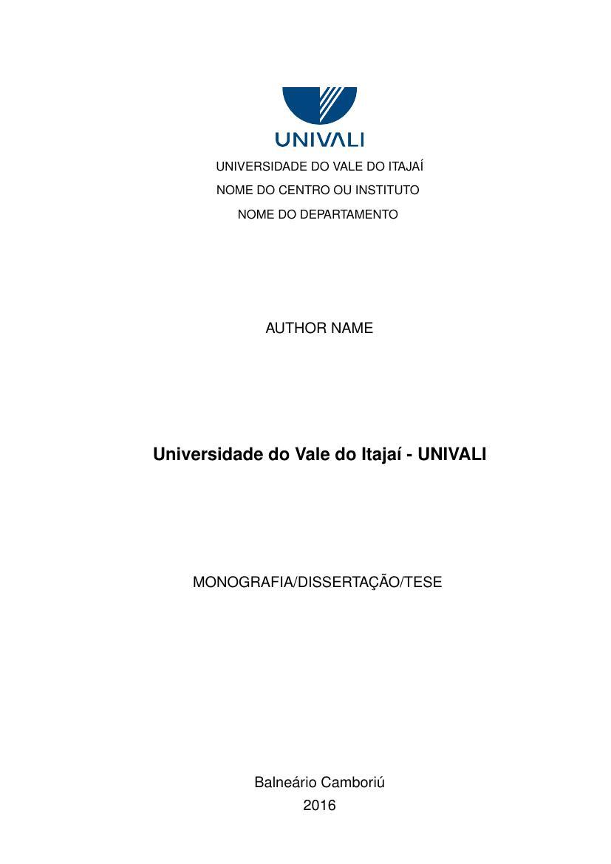 Universidade Do Vale Do Itaja 237 Univali Fastformat