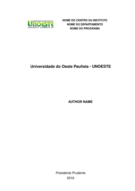 Modelo TCC Universidade do Oeste Paulista - UNOESTE